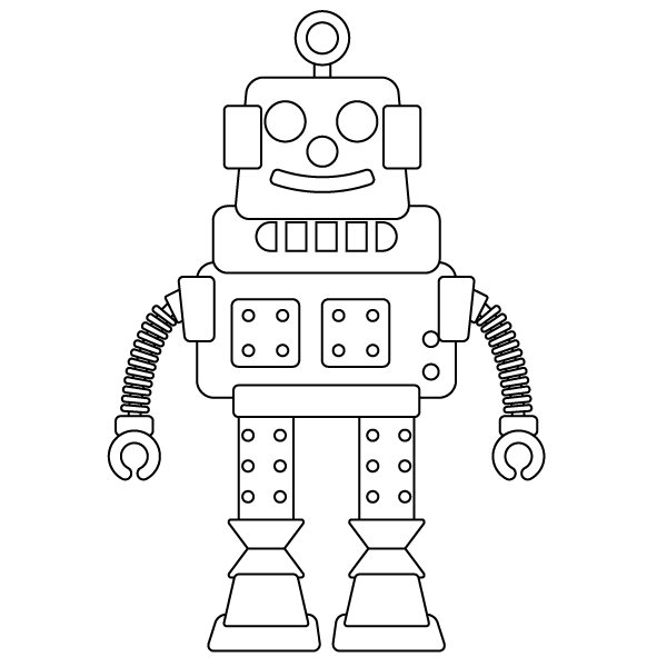 Robot Coloring Page - Babadoodle