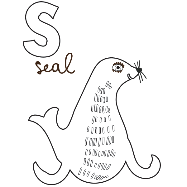 S for Seal - Coloring Page