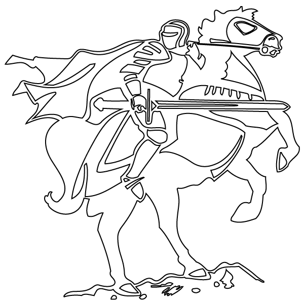 Knight on Horse coloring page