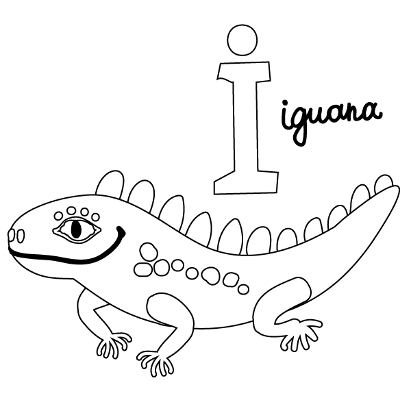 I For Iguana Coloring Page Babadoodle