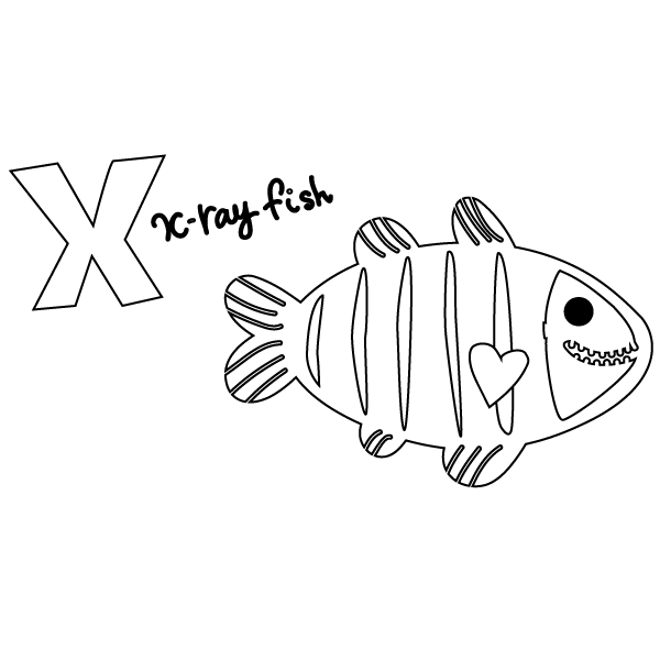 x for x-ray fish coloring page