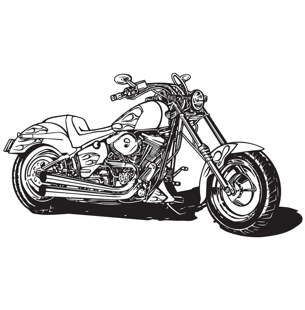 Harley Motorcycle Coloring Page Babadoodle
