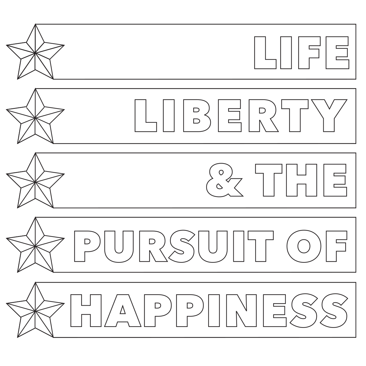 Life-Liberty-Pursuit-Happiness-Coloring-Page 4th of July Coloring Page