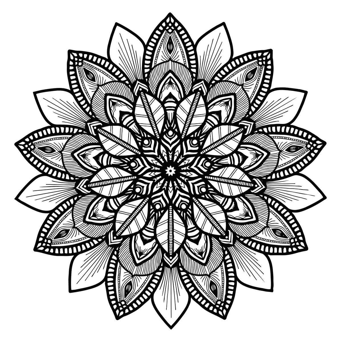 Floral Mandala Coloring LTa 39