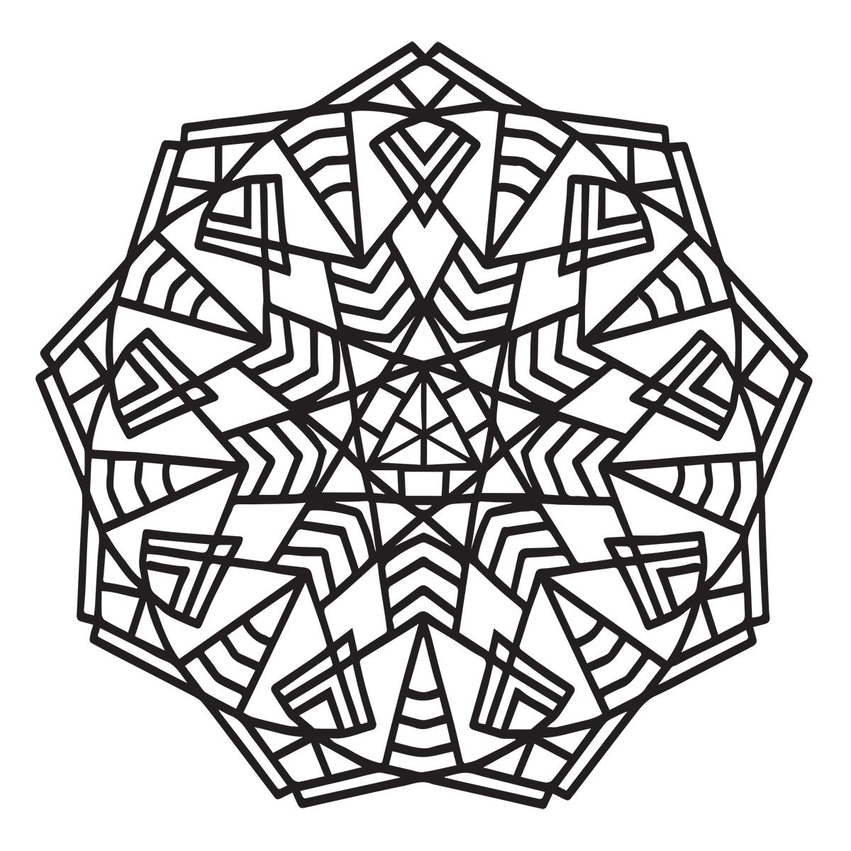 Geometric Mandala Coloring Page - Babadoodle