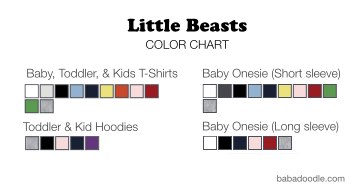 Color chart for Little Beast kids clothing