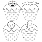 Free Halloween Cupcake Coloring Page